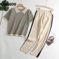 Gigogou Kadınlar Örme Eşofmanlar 2 Parça Setleri İlkbahar Yaz Kısa Kollu Kadın T Gömlek + Yüksek Bel Capris Kalem Pantolon Suits