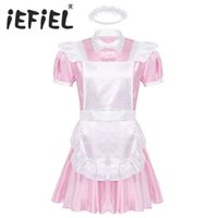Mens Male Adults Sissy Maid Cosplay Costume Puff Sleeve Front Button Down Dress with Apron and Headband for Role Play Halloween Y0903