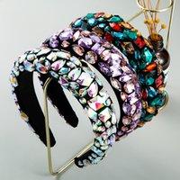 새로운 바로크 디자인 스폰지 및 벨벳 머리띠 가득 찬 멀티 타입 다채로운 큰 인공 결정 아름다운 헤어 밴드 854 Q2