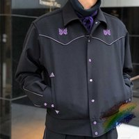 Black Needles Jacket Men Women 1:1 High Quality Vintage Classic Butterfly Embroidered Awge Coats Inside Tag Label