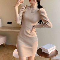 Lässige Kleider Yu Jie Style Bubble Hülse gestricktes Bottoming-Kleid für Frauen im Herbst und im Winter
