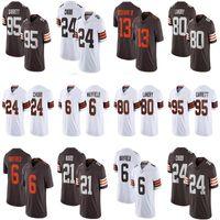2021 맞춤 6 베이커 메이 필드 24 Nick Chubb Mens Womens Youth Football Jerseys 95 Myles Garrett 80 Jarvis Landry 21 Denzel Ward 13 Odell Beckham Cleveland주니어갈색