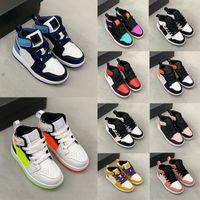 2021 scarpe da tennis da tennis di alta qualità per bambini di alta qualità 1s scarpe da tennis blu blu bianco e nero rosso alto top scarpe sportive da 25-35 dimensioni