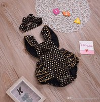kids clothes baby girls jumpsuits sleeveless backless golden polka dot one-piece romper + headband 2pcs set 0-24m kid coverall