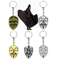 Heyu Jewelry V For Vendetta Anonymous Mask Hip Hop Pendant Hacker Mask Alloy Llavero Fashion Gaes Chaveiro 5 colores