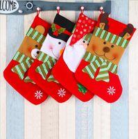 لوازم عيد الميلاد هدية حقيبة ديكورات قلادة إعطاء الكيس الجوارب الحلي الراقية مخطط أحمر وأخضر ثلج ثلج ندفة الثلج عيد الميلاد