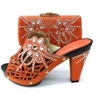 Zapatos italianos de moda con bolsas a juego para las mujeres africanas de las mujeres del tacón alto de las mujeres y el conjunto de bolsos para la fiesta del baile