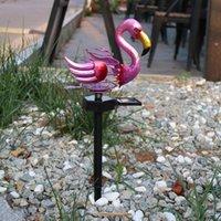 Lawn Lamps Outdoor LED Solar Lamp Spring Flamingo Cracked Plug Light Waterproof Courtyard Garden Street Landscape Lighting Decor