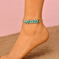 Trendy Tiny Chain Pearl Beaded Anklets Bracelets on Foot for Women Vintage Acrylic Cuba Chain Charm Anklet Beach Jewelry