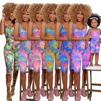 여름 어머니 소녀 가족 민소매 jumpsuit 엄마와 딸 Romper 여성 아기 소녀 패션 가족 일치 복장 의류 H42811