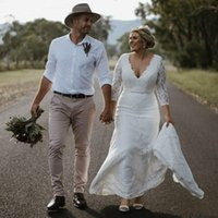 Plus Taille Dentelle pleine dentelle Robes de mariée en V couc 3/4 manches Country Robe de mariée Robe à glissière Robe rustique de mariée
