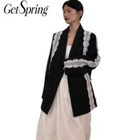 GESPRING Frauen Blazer Spitze Patchwork Farbe Matching Long Blazers Jacken Vintage Casual Black Anzug Mäntel Frau 2021 Frauenanzüge