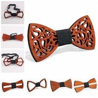 9 estilos Vintage Red Redwood Bow Bow Lazs Hallow Out Bowknot para caballero Boda de madera Bowtie Fasion Accessories CCA11257 60pcs