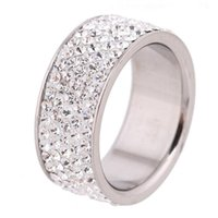 Wholesale 5 Row Lines Clear Crystal Jewelry Fashion Stainless Steel Engagement Rings For Women Girls