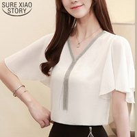 Blusas Plus Size Casual Womens Tops and Blouses V-Neck Chiffon Blouse Solid Short Sleeve Elegant Women Shirt Lady Clothing 3897 210510