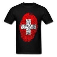 CCCCSorttop Качество Одежда для мужчин Швейцария Флаг отпечатков пальцев Классные футболки Мужские индивидуальные Тройники Хлопок Новая футболка