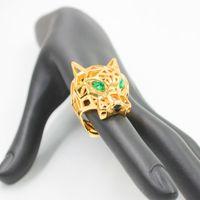 Moda oco leopardo animal anel de dedo verde olhos oco pantera cabeças anel para homens mulheres festa jóias