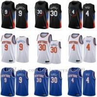 빈티지 Obi Toppin RJ 9 Barrett Derrick Rose Julius Randle Newyorkknicksmen Black City 2020-21 Swingman Basketball Jersey Edition 사이즈 S-2XL
