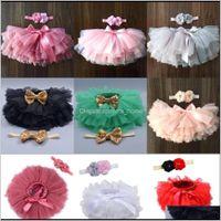 2021 Fashion Baby Dress Tulle Bloomers Infant Born Diapers Copertura Rainbow Gonna Fascia Set 4P4v6 AZDZO
