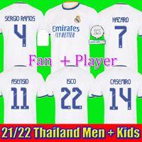 레알 마드리드 2122 축구 유저 위험 축구 셔츠 Alaba Sergio Ramos Benzema Asensio Modric Marcelo Camiseta Men + Kids Kit 20 22 22 유니폼 넷째