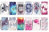 Cajas de cartera de cuero 3D para iPhone 13 12 Mini 11 PRO XS MAX XR X 6 7 8 PLUS OWL SKULL DREAM FLOWER UNICORN ID CARD RANGO Tapa Flip
