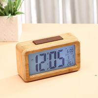 Wooden Digital Alarm Clock,Sensor Night Light With Snooze Date Temperature Clock LED Watch Table Wall Clocks EWF7115
