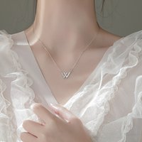Gu Mao Ning Ins Korean Version Wang Yibo Xiao Zhan w Letter Necklace Female Inlaid Diamond Double v Geometric Clavicle Chain Student 3W34719