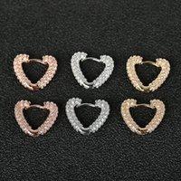 Hoop & Huggie Cute Romantic Heart Earrings For Women Luxury Shiny Crystal Zircon Paved Geometric Huggies Charm Wedding Earring Jewelry