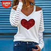T-shirt lässig gestreiftes patchwork langarm blusas elegant aushöhlen halfter pullover tops frauen sexy v-ausschnitt herz drucken blusen shir # t62w