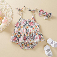 Clothing Sets Baby Girl Clothes Set Romper Born Infant Girls Slip Ruffle Floral Leopard Bodysuit+Headband Clothes#30