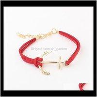 Charme Leder antiken Anker Armreifen Armbänder Doppelschichten Handgemachte Modeschmuck Zubehörkette Armband Brace Pyx Bloqm