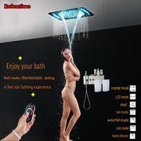 욕실은 수건 선반 크리스탈 석영 노즐 빛을 숨겨진 온도 조절 샤워 패널 LED 천장 머리 비 폭포 세트