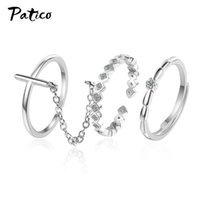 Cluster Rings 3Pcs Set Chains Finger For Women Rose Gold Round Hollow Geometric Set Adjustable Joint Ring Jewelry Party Gift