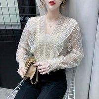 가을 여성 퍼프 긴 소매 섹시한 레이스 셔츠를 통해보기 여성 패션 한국어 구슬 캐주얼 바닥 탑 블라우스 여성의 블라우스