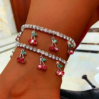 Anklets Gold Silver Color Cherry Anklet Rhinestone Crystal Ankle Boho Beach For Women Sandals Foot Bracelets Female Jewelry