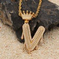 Yutong Custom Crown Boin Canip Пузырь Первоначальные буквы цепи Ожерелья Кулон для мужчин Женщины Золотой Цвет Кубический Циркон Хип-Хоп Ювелирные Изделия