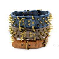 Bronz Çivili Pet Köpek Tasmaları Aşınmaya Dayanıklı PU Büyük Retro Rivet Yaka 3 Renkler EWE9797