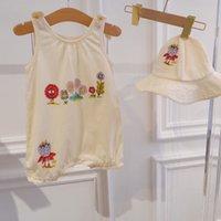 Babymädchen Sommer Strampler mit Hut Mädchen Nette Rüsche Backless Overalls Infant Baumwolle Kurzarm Outfits One Piece Bowknot