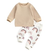 Clothing Sets Born Baby Girls 2-piece Outfit Set Long Sleeve Waffle Hoodie Top+Rainbow Print Pants For Kids Boys Spring Autumn