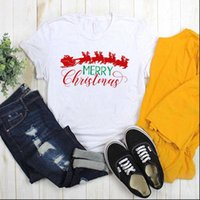 Print Graphic Fashion Winter Blessing Women T Shirt Deer Santa Claus Merry Christmas Ladies Top Female Womens Tee