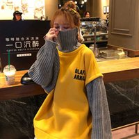 Korean letter plus velvet BF sweatshirt Ins Harajuku vintage women chic fake two-piece fashion loose casual top 210608