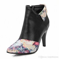 Women Boots Print Patchwork High Heels Shoes Lady Stiletto Pointed Toe Ankle Winter Plush 32Bv#
