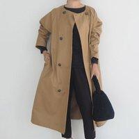 Elegant Trench Coat Women Autumn Spring Solid Khaki Double Breasted Korean Office Ladies Long Coats Rerto Windbreaker Outwear Women's