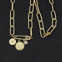 Collares colgantes Cubic Zirconia Papel Clip Conector Collar para Mujeres Sun Ovil Eye DIY Joyería de moda Regalo de fiesta 1 pieza