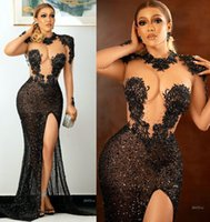 2021 Plus Size Arabic Aso Ebi Black Mermaid Sexy Prom Dresses Lace Beaded Sheer Neck Evening Formal Party Second Reception Gowns Dress ZJ782