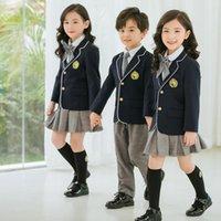 Clothing Sets Kid British School Uniform For Girls White Shirt Navy Blazer Jacket Gray Skirt Boys Coat Pants Suit Clothes Set Student Outfit