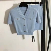 402 2021 marca mesmo estilo dois pedaços conjuntos v pescoço Empire manga curta azul cardigan moda mulheres vestido faluolan