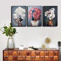 40x60cm 페인트 추상 현대 꽃 여성 DIY 유화 번호 캔버스 홈 장식 그림 그림 그림 선물 BWD6234