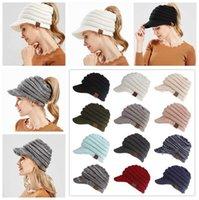 Women's CC Knitted Baseball Cap Open Ponytail Visor Cap Ski Cap Beanie Hat Winter For Women Winter Ponytail Beanie Hats 12 Colors 100pcs