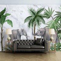 Özel Duvar Kağıdı 3D Stereo Fil Mermer Bitki Orman Duvar Boyama Oturma Odası TV Kanepe Yatak Odası Ev Dekor 3 D Duvar Kağıtları